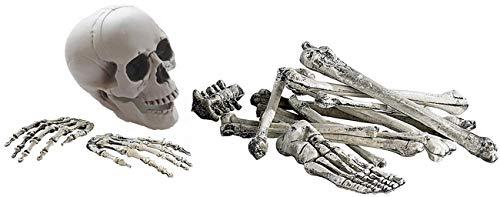 JuguHoovi Halloween Skelett Bausatz, 19 Teiliges Set Horror Dekoknochen, Knochen, Totenschädel & Skeletthände, Beste Dekoration für Party & Halloween Dekoration Ganzkörper Horror Skeleton Bausatz
