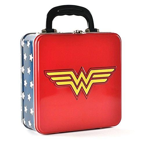 wonder woman logo rot blau Zinn Trage Lunch-Box offiziellen DC Comics Liga der Gerechten Batman Metall Lunch-box