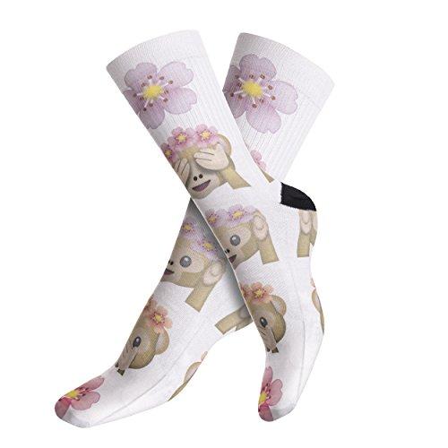 Funny Socks Company© Bedruckten Socken Top Sport Top 3D Print / Motiv / Design Eine Größe Frauen Girl Frühling Sommer 2017 (EMOJI MONKEY FLOWERS 40309) (Sandal Pink Flower)