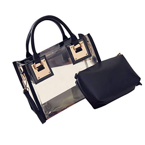 SoonerQuicker Mode Frauen Transparent Umhängetasche Gelee Süßigkeiten Strand Handtasche Messenger Tasche (schwarz) -