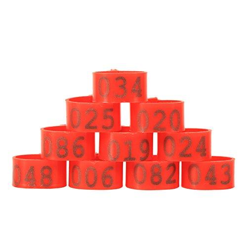 Galleria fotografica 100PCS 16mm Numero 001-100 Anelli in Polsini di Pollo Numerati Anatre Anelli di Gambe di Gomma, 6Colors da Scegliere ( Colore : Rosso )