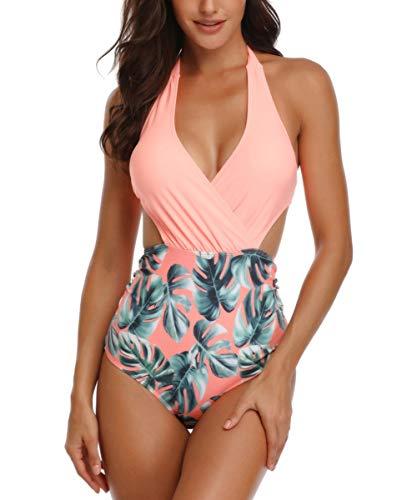 Spreadhoodie Bademode Damen Badeanzug Orange Sexy Bikini Rueckenfrei Bademode Blumen Neckholder Hohe Taille V-Ausschnitt Einteiliger Bademode XXL - Sexy Neckholder Bikini Badeanzug