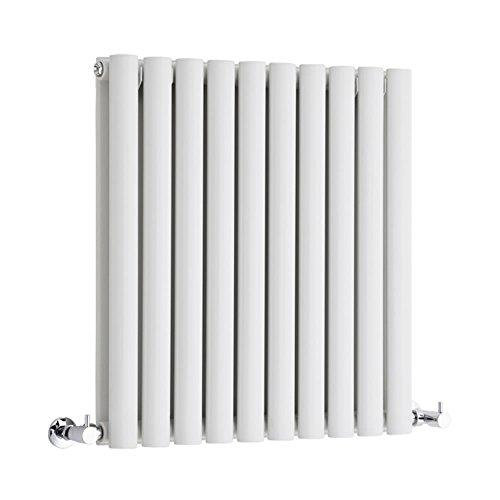 Hudson Reed Radiador Revive Horizontal con Calefacción de Diseño Moderno - Radiador con Acabado en Blanco - Diseño de Columna - 635 x 590mm - 932W - Calefacción