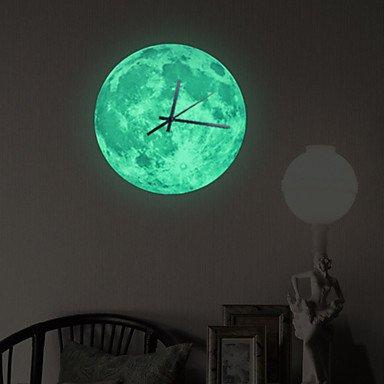 Y & M 30 x 30 cm lumineuse lune lune horloge Decal Home Decor
