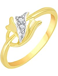 Vidhi Jewels Gold Plated Wavy Diamond Studded Pattern Alloy & Brass Finger Ring For Women And Girls [VFR113G]
