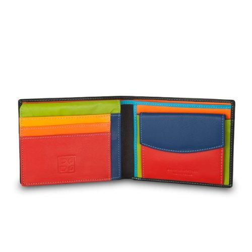 Portafoglio multicolore in pelle classico da uomo firmato DUDU Nero