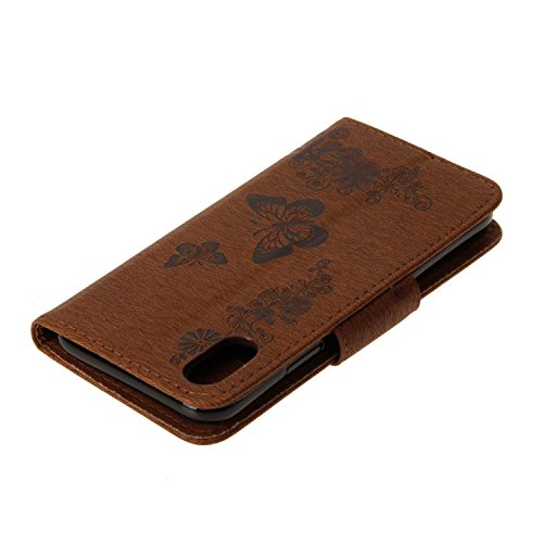 Coque iPhone X Gris 3D Joli papillon Portefeuille Fermoir Magnétique Supporter Flip Téléphone Protection Housse Case Étui Pour Apple iPhone X / iPhone 10 (2017) 5.8 Pouce + Deux cadeau brown