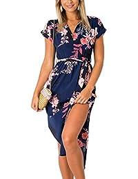 ECOWISH Sommerkleider Damen Kurzarm V-Ausschnitt Strand Blumen Kleider Abendkleid Knielang