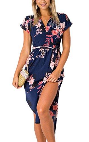 ECOWISH Sommerkleider Damen Kurzarm V-Ausschnitt Strand Blumen Kleider Abendkleid Knielang Blau M Damen-tea-party