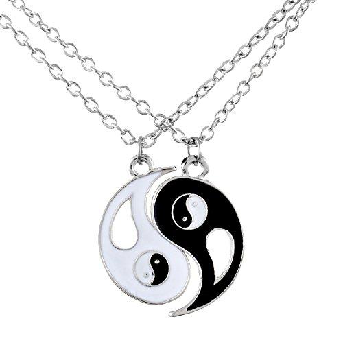 *MJARTORIA Damen Kette Silber Farbe Kette Charm Taichi Anhänger Yin Yang Partneranhänger 2 Stück*