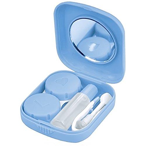 Mini-Travel-Quadrat-Form Kontaktlinsenbehälter Box Containerhalter mit kleinen Spiegel Pinzette Applikator und Lösung Flasche Blau Größe: 5,1 x 5,8 x 1,6 cm