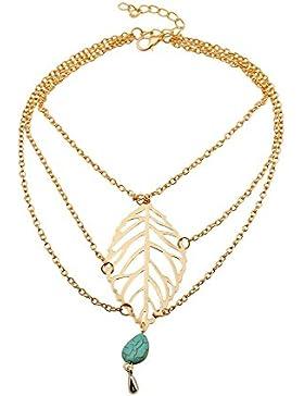 Vintage Oberarmkette Armkette Oberarm Arm Kette Schmuck Festival Blatt Leaf Flower mit Perle in Gold-Optik von...