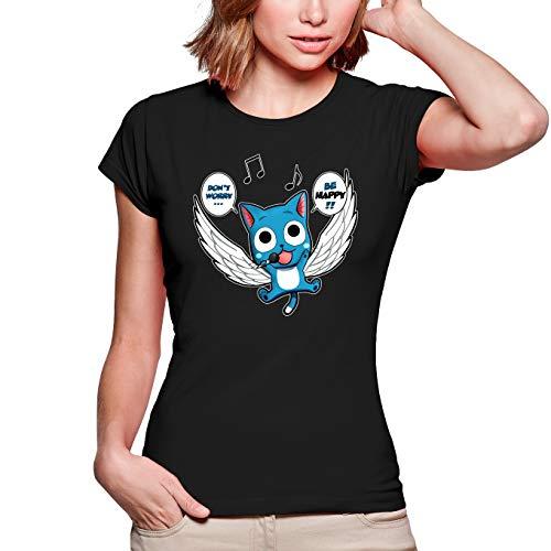 Okiwoki T-Shirt Femme Noir Fairy Tail parodique Happy : Don't Worry. Be Happy !! (Parodie Fairy Tail)