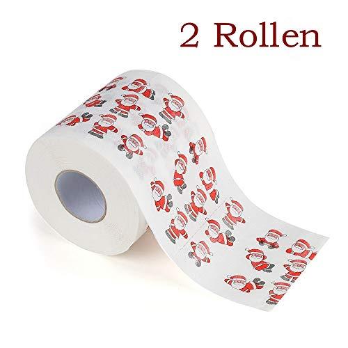 Zhen+ Toilettenpapier, 2 | 10 | 40 | 80 Rollen 3-lagig Klopapier bedrucktes Papierhandtücher Papier Toilettenpapier Motiv Weihnachten 170 Blatt je Rolle (D, 2 Rollen)
