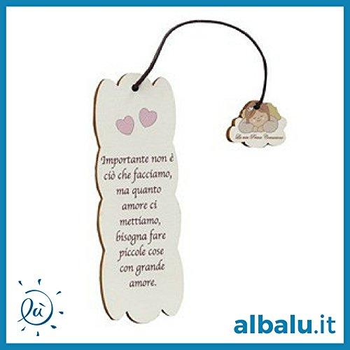 6 pezzi bomboniere comunione bambina | segnalibro legno bambina angioletta comunione 5x15 cm con frasi