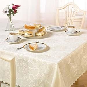 Emma Barclay Damask Rose Tablecloth, Cream, 50 x 70 Inch