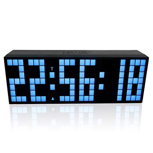 CCDYLQ Große Fernbedienung Digitale LED-Wall-Uhr, Elektronische Snooze Alarm Uhren Countdown Timer mit Temperaturkalender Anzeige Wandmonat für Office Home Airport Gymnasium,Blue