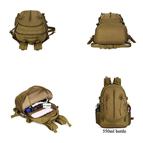 SUNVP 40L Tactical Rucksack Military Assault Pack Wandern Camping Rucksack Daypack Große Wasserdichte Daypack Armee Überschuss Ausrüstung Outdoor Jagd Sport Radfahren. Black