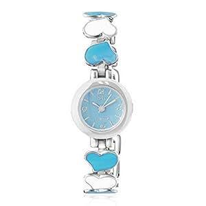 Fashion alloy Love Heart silver-tone Blue bianco quadrante rotondo orologio da polso da donna