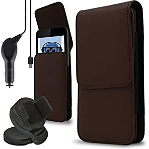 iTALKonline BLU Tank Xtreme 4.0 Brown PREMIUM PU Leather Vertical Executive Side Pouch Case Cover Holster with Belt Loop Clip and Magnetic Closure and 1000 mAh Coiled In Car Charger LED Indicator and Overload Protection