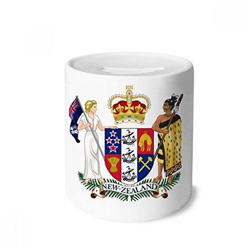 DIYthinker Neuseeland Ozeanien National Emblem-Geld-Kasten Sparkassen Keramik Münzfach Kinder Erwachsene 3.5 Zoll in Height, 3.1 Zoll in Duruchmesser Mehrfarbig