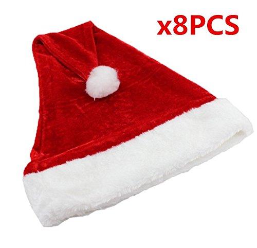 UChic 8 STÜCKE Nette Rote Weihnachten Offizielle Plüsch Weihnachtsmann Hut Komfort Liner Weihnachten Halloween festival Kostüm für Hüte Kappen Für Erwachsene Kinder Kinder Festliche Geschenke Home Party Dekoration Weihnachtsmann (Katze Halloween Kostüme Im Hut Familien)