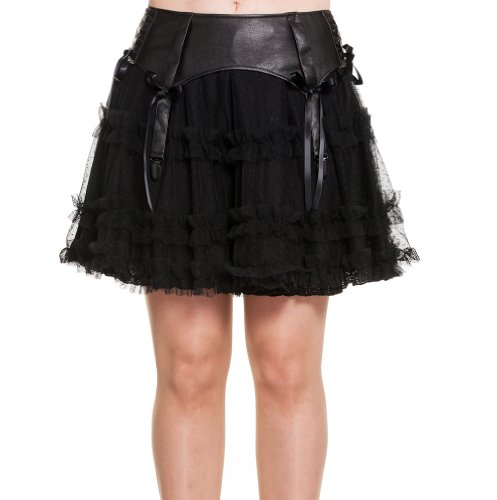 Hell Bunny Punk/Goth Black Ruffle Skirt with lace detailing - Size 8