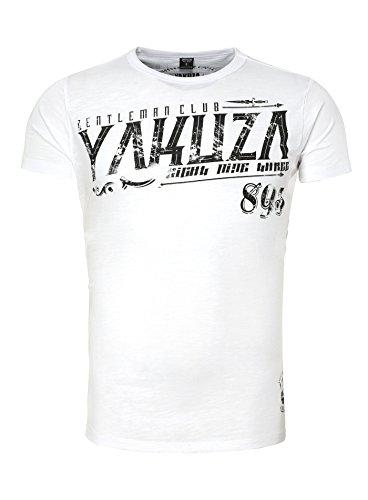 Yakuza Herren T-Shirt GENTLEMAN CLUB Printshirt Skull Totenkopf Rabe Raven Federn Weiß