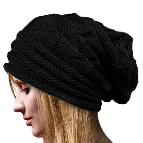 XT_Direct Frauen monochrome Strickmütze Kälteschützender warmer Strickhut Kurzer warm gestrickter Winterhut für Frauen-5 Farben (Schwarz)