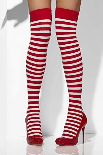 Blickdichte Halterlose Strümpfe, Gestreift, One Size, Rot und Weiß, 42768 ()