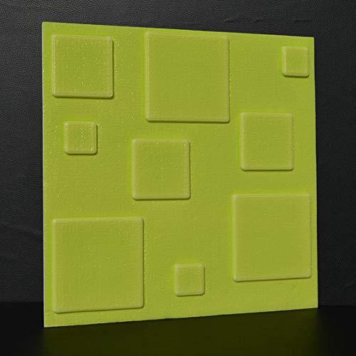 HX stickers 10 pièces 3D Auto-adhésif Autocollants, Mousse PE Tuile de Mur Anti-Collision épaississement Panneaux muraux Toile de Fond pour Les Murs TV-Vert