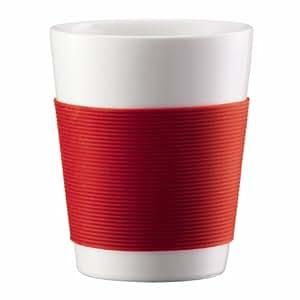 Bodum 0.1 L/3 oz 2-Piece Double Wall Porcelain Canteen Mug, Small - Red