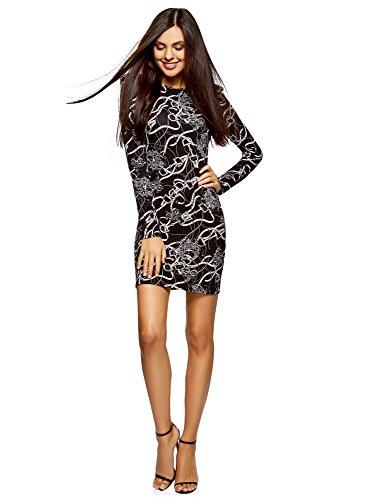 oodji Ultra Damen Enges Jersey-Kleid, Schwarz, DE 38 / EU 40 / M (Schwarzes Eine Kleid Kleines Schulter)