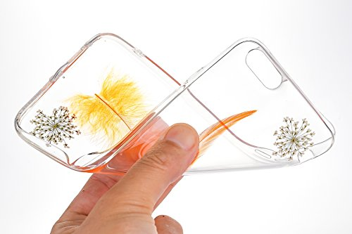 Custodia iPhone 6, iPhone 6S Cover Silicone Transparent, SainCat Cover per iPhone 6/6S Custodia Silicone Morbido, Shock-Absorption Custodia Ultra Slim Transparent Silicone Case Ultra Sottile Morbida G Arancione