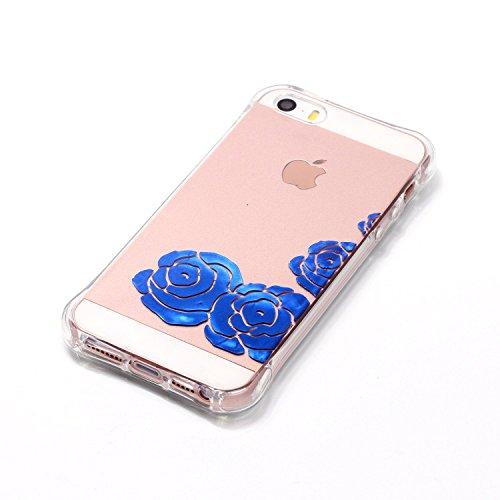 Aeeque® Souple Coque pour iPhone 5S 5 SE, Ultra Slim MinceThin Flexible Caoutchouc TPU Silicone élégant Bleu Fleur Blanche Dessin Case Cover Etui de protection Housse Bumper Motif #30