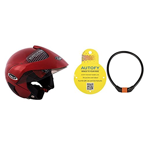 Autofy Habsolite Estilo Flip Up Helmet (Red, M) and Autofy 4 Digits Universal Multi Purpose Steel Cable (Black and Orange) Bundle