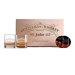 Privatglas 2 Gravierte Whiskygläser mit bedruckten Untersetzern in einzigartiger Geschenkbox zum Valentinstag oder Vatertag