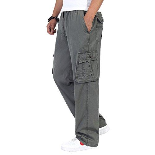 Herren Cotton Cargo elastische hohe Taille locker geschnittene Freizeit Hose army green 5XL