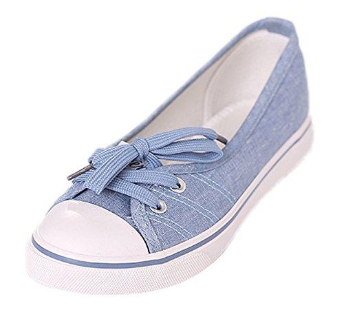 Minetom Donne Ragazze Moda Punta Rotonda Scarpe Di Tela Tallone Piano Espadrillas Loafer Scarpe Blu Chiaro 38