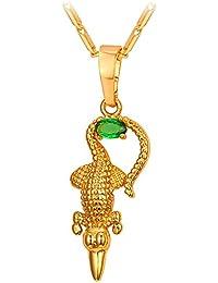 U7 Women's Ethnic Animal Style Necklace 18K Gold Plated Green Cubic Zirconia Crocodile Alligator Pendant With...