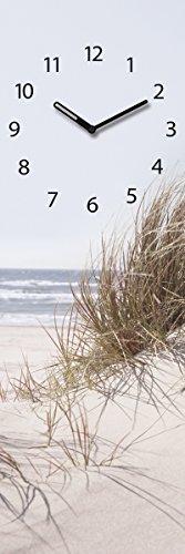 Wanduhr aus Glas, Sea of Dunes, Strandmotiv mit Sanddüne, hellblau, 20x60 cm von Eurographics
