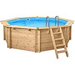 SL247 Luxe Piscine ronde en bois I Support piscine 440cm de diamètre I 136cm de profondeur I Set complet piscine avec sable Filte rpume et filtre Balls