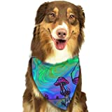 Sdltkhy Psychedelic Trippy Mushroom Dog Bandana - Small Medium and Large Bandanas for Every Occasion Or Holiday - Easy to Tie On Your Cats Or Dogs Or Puppy - Comfortable and Stylish Pet...