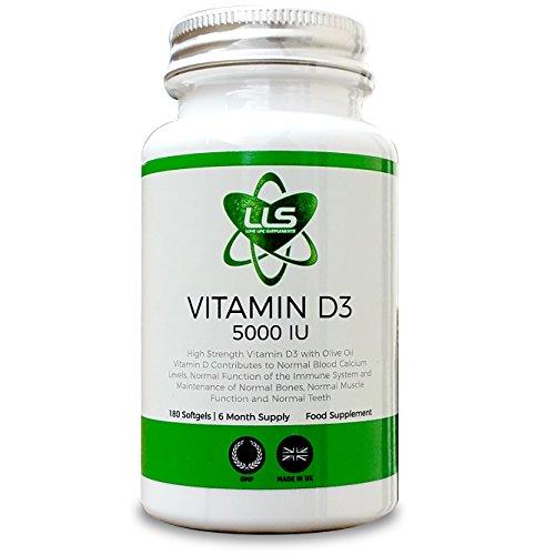 LLS D-Vitamina D3 Light | Molto Forte 5000iu | 180 Capsule Morbide - *** Scorta 6 Mesi *** | Prodotto nel Regno Unito sotto Licenza GMP | Integratori Love Life -