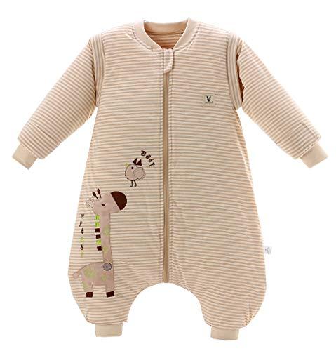 Chilsuessy Baby Winter Schlafsack mit Füßen und abnehmbar Langarm Pyjamas aus Bio Baumwolle, Baby Schlafanzug für Baby 1 bis 3 Jahre, Giraffe, S/Koerpergroesse 75-85cm