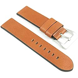 StrapsCo Tan Thick Vintage Leather Watch Band size 20mm