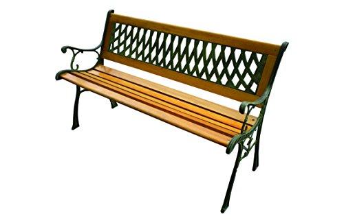 Gartenbank, Gusseisen / Holz, 2 Sitzplätze, H73 x B125 x T52 cm