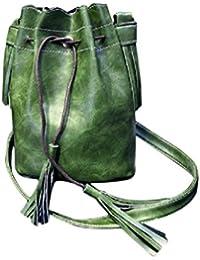 Sannysis Hot hombro de la borla Mensajero; Mujer Bolso de hombro de la borla (Verde)