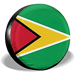 Dem Boswell Reserverad Reifenabdeckung Guyana Flag Trinkwasser Polyester Universal Wasserdicht Staubdicht Sonnencreme Universal Fit