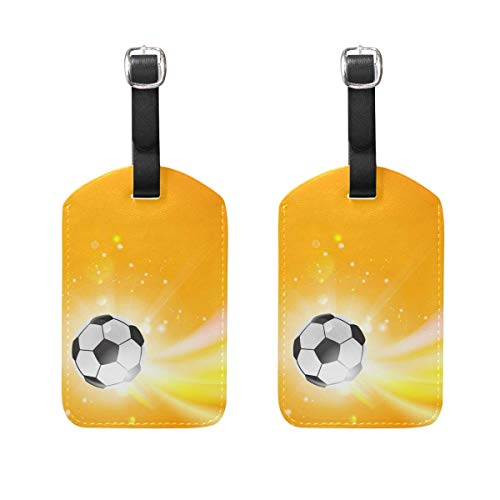 Rugby Ball On The Field Luggage Tag Travel ID Label Leather for Baggage Suitcase 2 Piece Set 00df4841